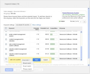 Google AdWords keyword options